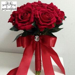 Image 3 - Perfectlifeoh باقة الزفاف الديكور زهور الورد باقة الزفاف الأبيض الساتان رومانسية الزفاف الزهور باقات الزفاف