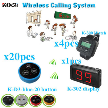 Wireless Guest Paging system  China supplier lower price  strong signal (1 display +4 watch pager +20 table bell button)