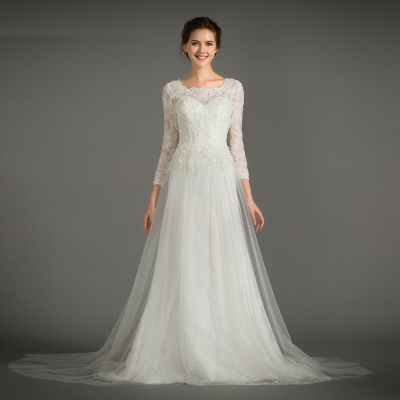 Elegant Scoop Neck Beading Lace Vestido De Novia Casamento Pleats Tulle A-line Wedding Dresses Long Sleeve Marriage Bridal Gowns