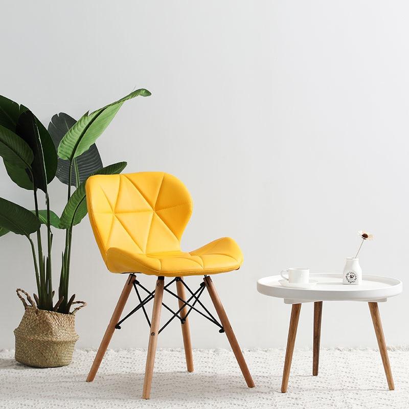 Современный минималистичный стол компьютерный стул домашний Ресторан обеденный стул из твердой древесины скандинавский диван спинка макияж пляж - Цвет: D