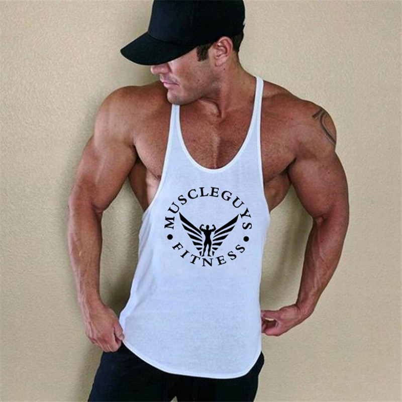Muscleguys Brand Clothing Bodybuilding Stringer Tank Top Mens Fitness Singlet Cotton Sleeveless shirt Workout Man Undershirt