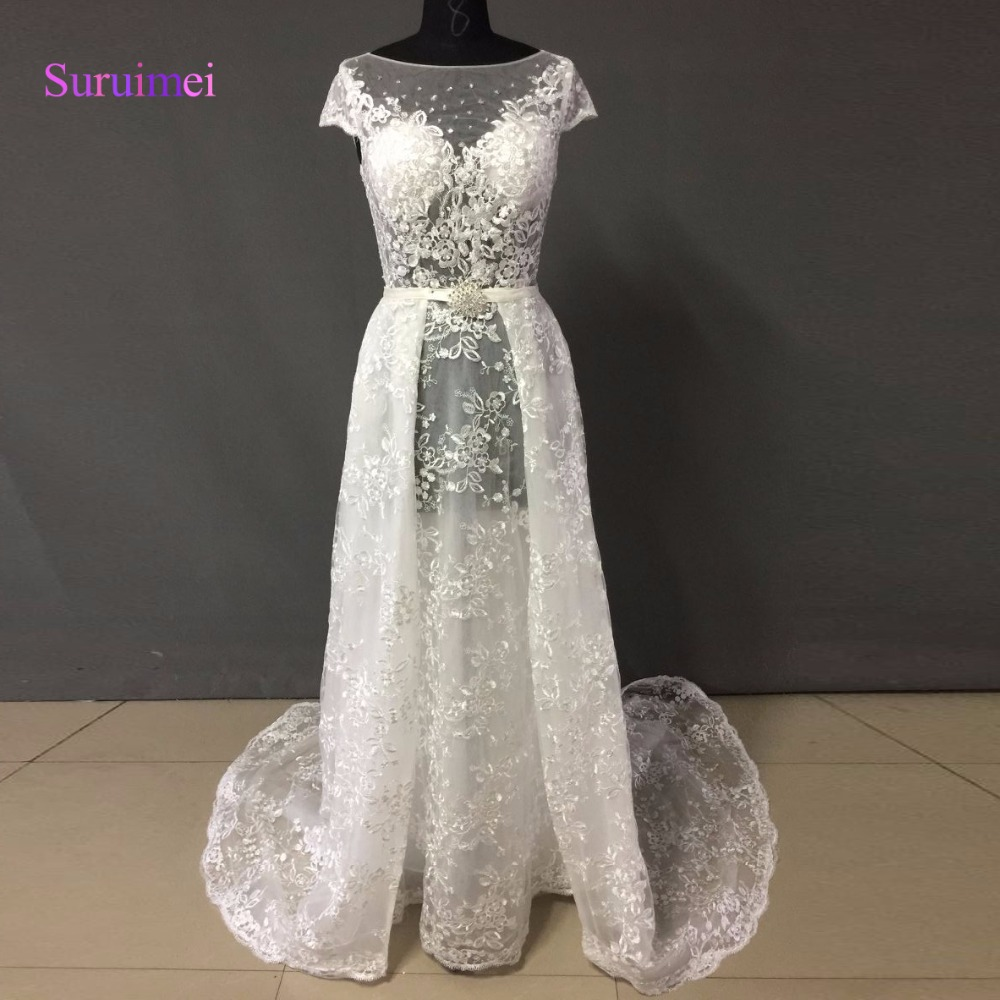 High Quality Ivory Color French Lace Mermaid Wedding Dress