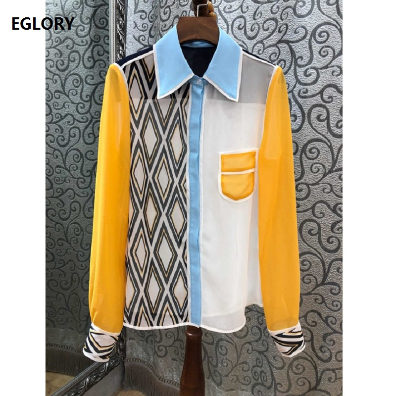 High Quality   Blouse     Shirt   2019 Spring Summer Style Woman Geometric Print Patchwork Long Sleeve Silk Cotton   Shirt   Blusas Feminine