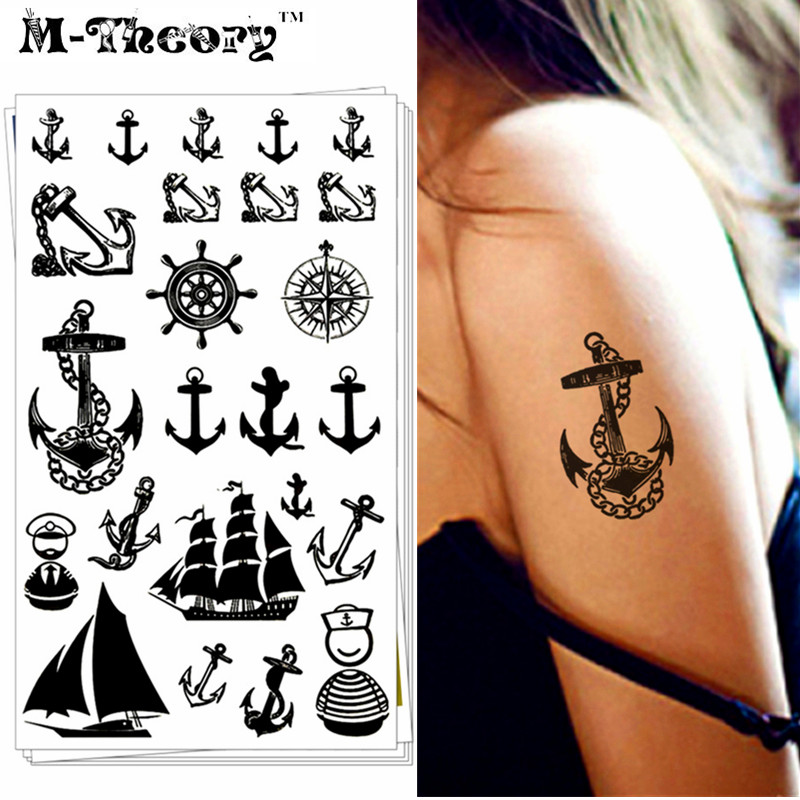 Navy Marine Pirate Anchor Temporary Tattoo Body Art Flash Tattoo Stickers 17*10cm Waterproof Car Styling Fake Tatoo Wall Sticker
