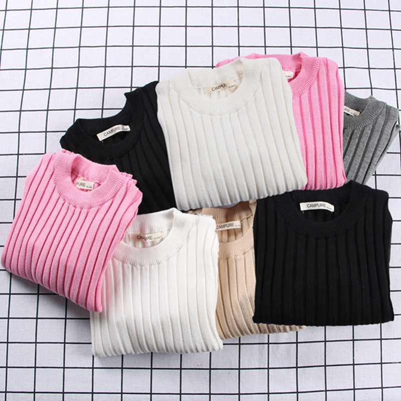 2019 New  Girls Sweaters Solid Candy Color Boys Sweaters Autumn New Knitted Baby Girls Ribbed Sweater Kids Clothing Girls