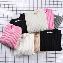 Зимние Повседневные теплые свитера детский пуловер однотонная