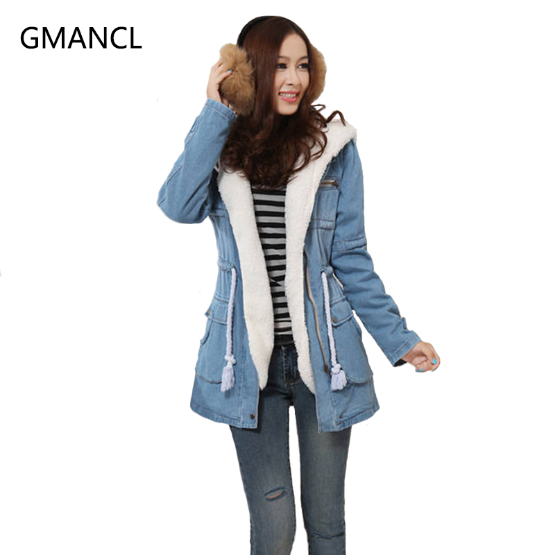 Denim Coats Jackets for Women 2017 Fashion Winter Thick Warm Down Parkas Coats Cotton Padded Loose Blue Jeans Jackets M037