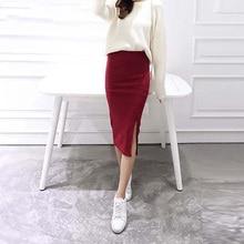 Осенне-зимняя облегающая юбка, Женская растягивающаяся юбка с разрезом, до середины икры, тонкая юбка-карандаш для женщин, женская трикотажная юбка