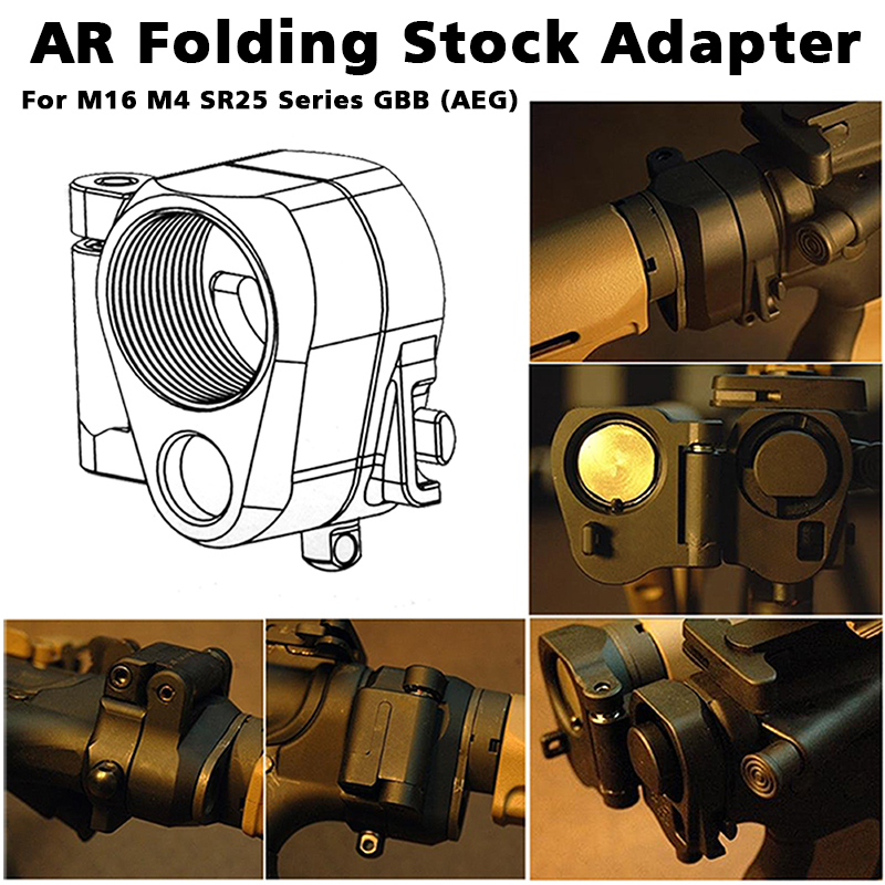 Tactical AR Folding Stock Adapter For M16/M4 SR25 Series GBB(AEG) Hunting Accessories For Airsoft RL2-0042 image