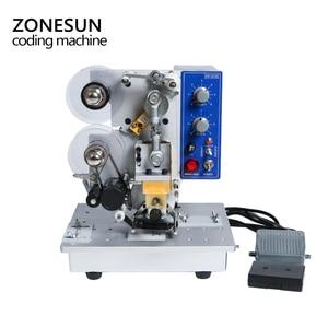 Image 2 - ZONESUN Semi automatic Hot Stamp Coding Machine Ribbon Date Character, Hot Code Printer HP 241 Ribbon Date Coding Machine