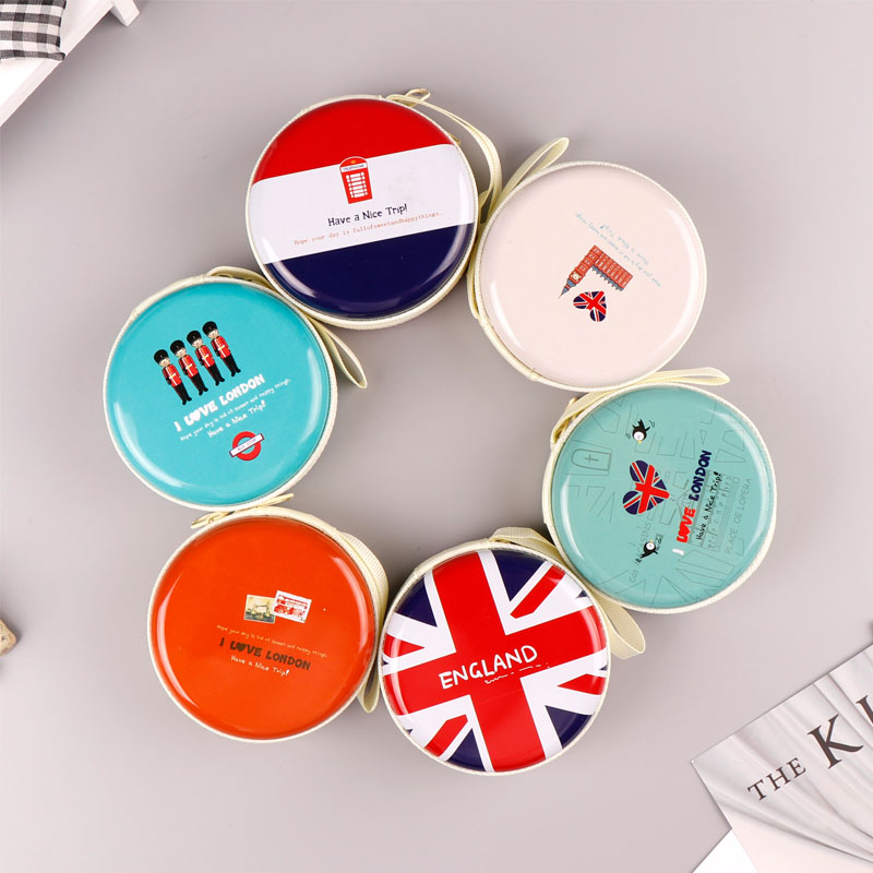 TOPSTHINK English style storage case small round soldiers pattern girls collect box with zipper 6 pcs set in Clip Holder Clip Dispenser from Office School Supplies