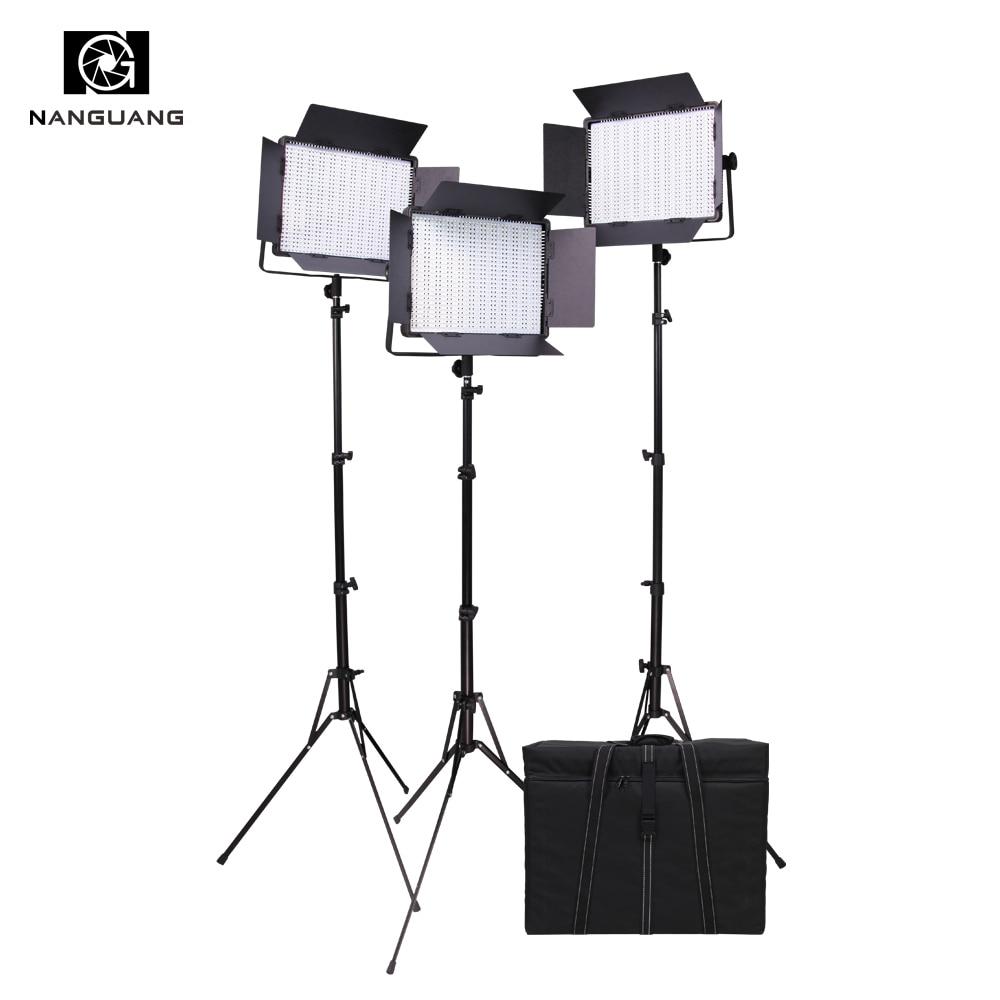 Nanguang CN-900SA 3pcs 54W Plastic LED Video Light Panels LED Studio Lighting Kit+Light Bag+210CM Light Stand
