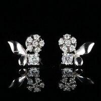 0.38ct Si SI2 природных алмазов Для женщин Обручение Серьги гвоздики 18 К белое золото Леди Ювелирные украшения
