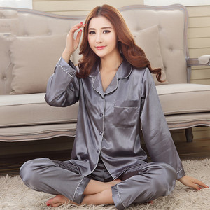 Image 4 - 2019 הגעה חדשה סתיו נשים משי פיג מה סטי שרוול ארוך הלבשת חליפת 2 חתיכות פיג V צוואר לנשימה פיג Homewear
