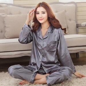 Image 4 - 2019 Yeni Varış Sonbahar Kadın Ipek Pijama Setleri Uzun Kollu Pijama Takım Elbise 2 adet Pijama V Yaka Nefes Pijama Gecelik