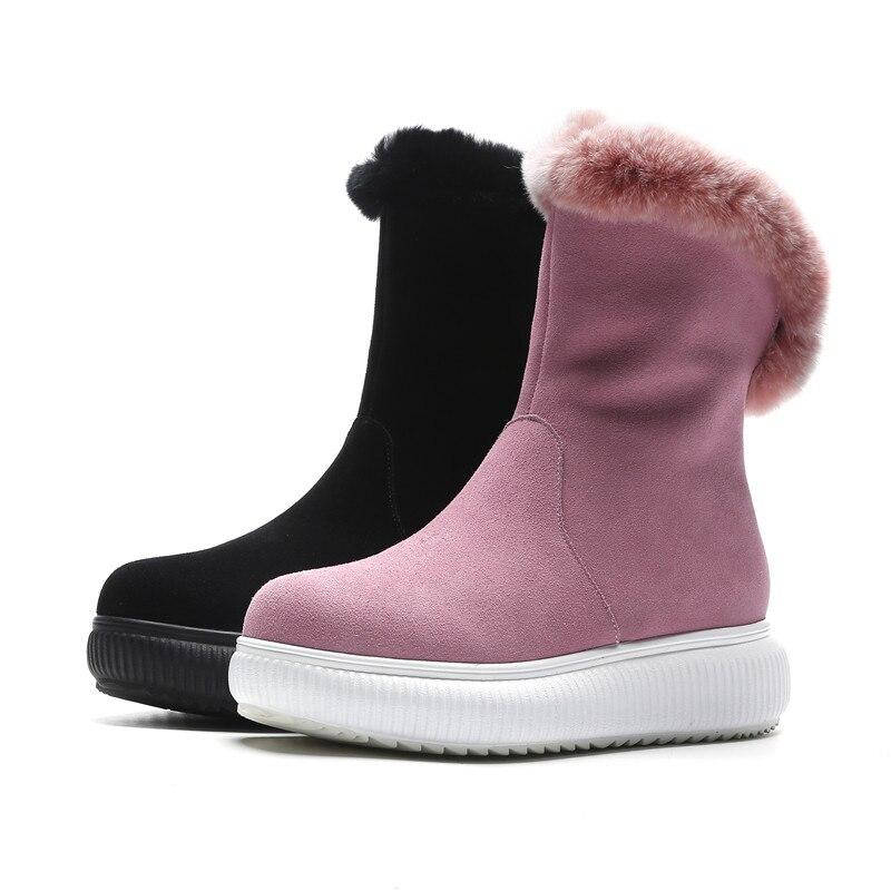 Suédé pink Au forme Masgulahe Zip Pour Rond Chaud De 2018 Plat Casual Femmes Neige Cuir Mode En Noir Hiver Garder Cheville Bout Plate Bottes SgPAwS