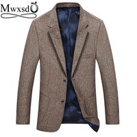 Mwxsd brand casual men business Suit Blazer mens winter warm slim fit blazer jacket male striped blazer masculino vetement homme