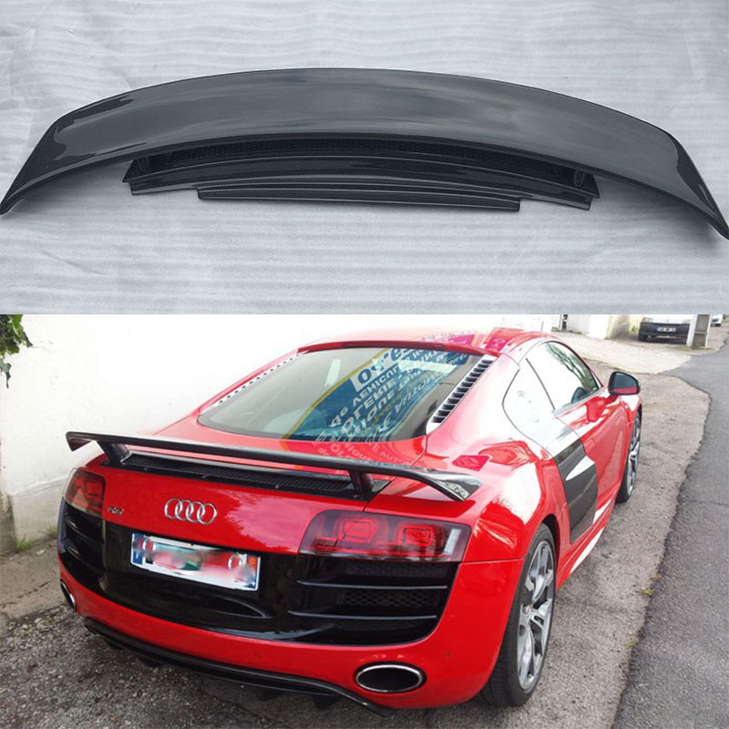 Car Styling R8 Carbon Fiber Rear Trunk Boot Spoiler Wing