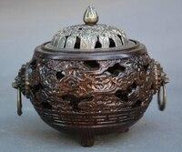 Китай династии бронза розового дерева лев зверь головы Ладан курильница статуя