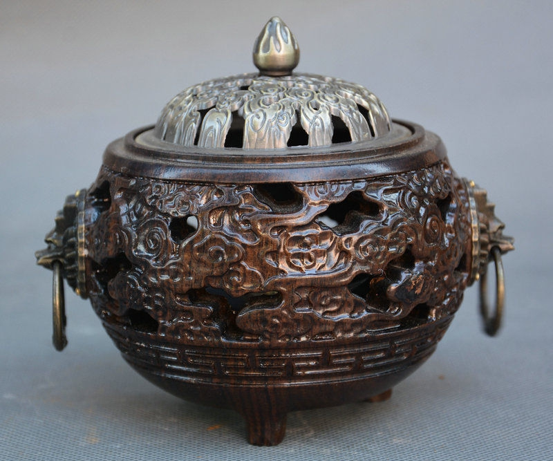 China Dynasty Bronze Rosewood Wood Lion Beast Head Incense Burner Censer StatueChina Dynasty Bronze Rosewood Wood Lion Beast Head Incense Burner Censer Statue