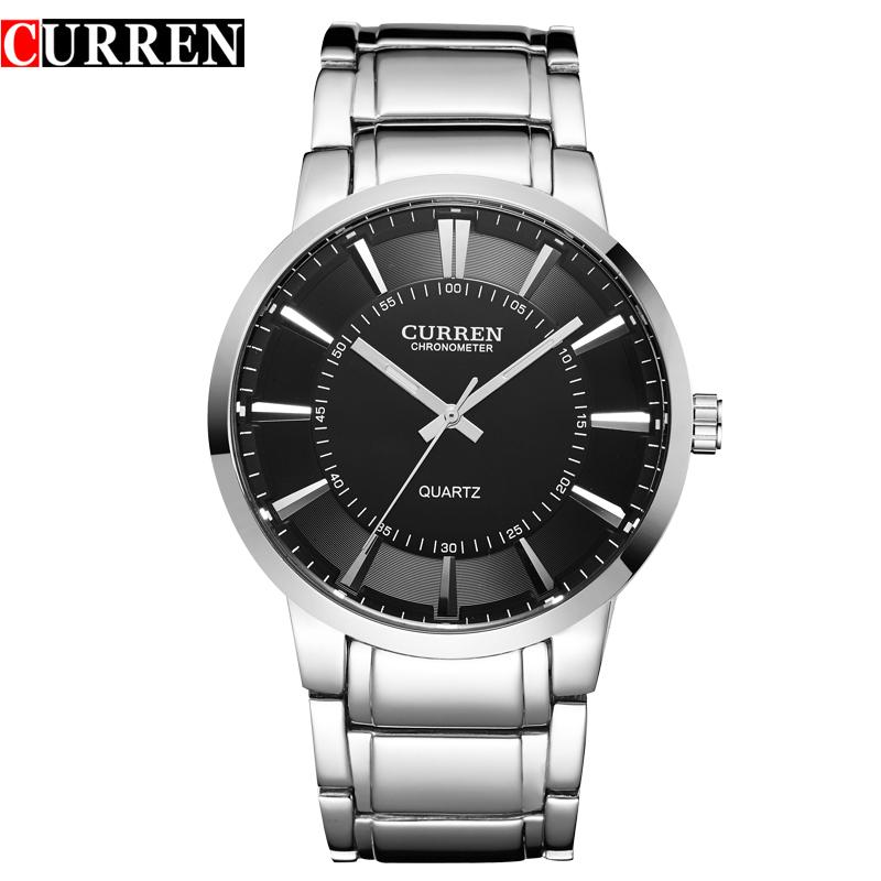 Prix pour Curren célèbre montres quart montre design sport en acier horloge top qualité militaire hommes mâle de luxe Métal watchband8001B