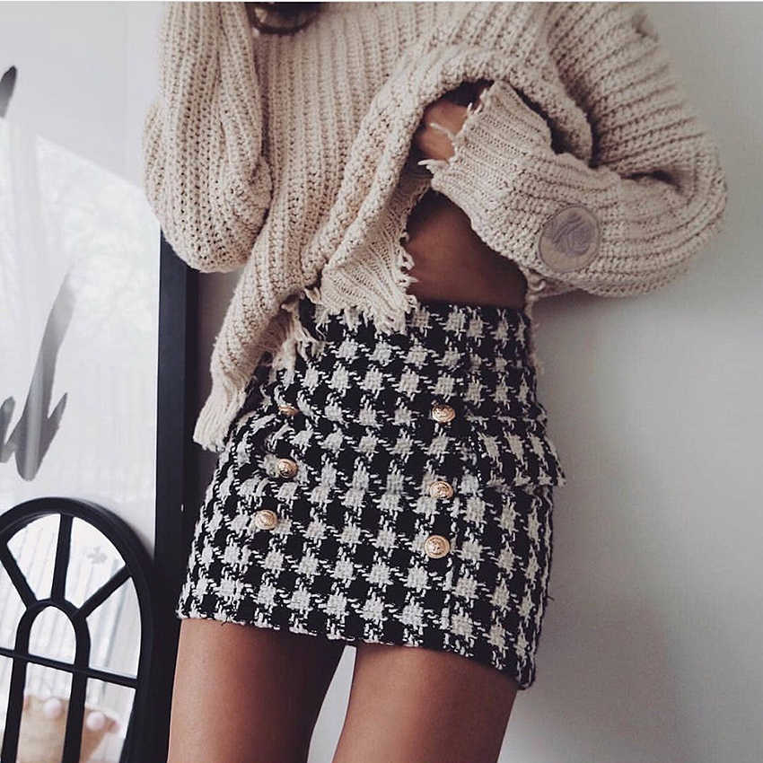 HIGH STREET Fashion Baru 2018 Runway Designer Rok wanita Singa Tombol Ganda Breasted Tweed Wol Houndstooth Mini Rok