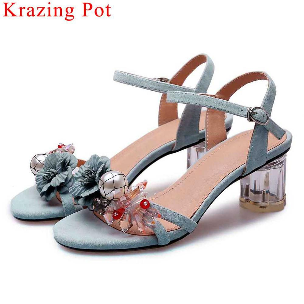 Fairy girls new kid suede peep toe buckle strap high heels women sandals peep toe large size flowers pearl wedding shoes L13Fairy girls new kid suede peep toe buckle strap high heels women sandals peep toe large size flowers pearl wedding shoes L13