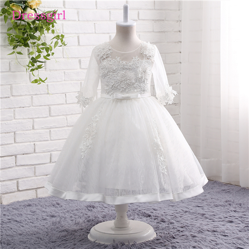 White 2019   Flower     Girl     Dresses   For Weddings A-line 3/4 Sleeves Tulle Lace First Communion   Dresses   For Little   Girls