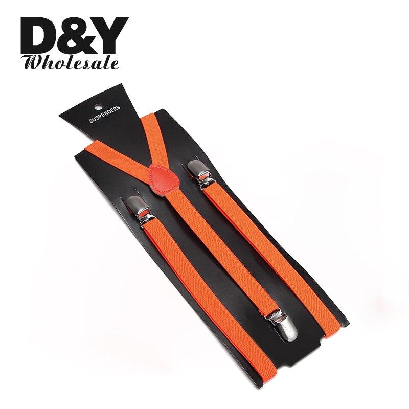 Clip-On Braces Slim Women Men'S Shirt Suspenders For Trousers Pants Holder Y-Back Suspenders Gallus 1.5cm Wide Candy Orange