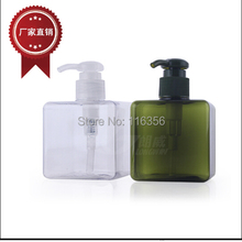 250ML TRANPARENT GREEN PET BOTTLE WITH PRESS PUMP FOR BODY LOTION OR SHOWER GEL OR SHAMPOO