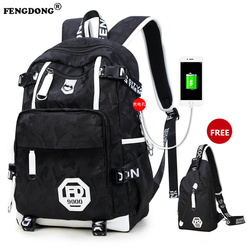 FENGDONG School Bags for Teenagers Brand Youth Back Bag Oxford Waterproof USB Charge College Bags Men Laptop Backpack Male fengdong men backpack oxford youth fashion brand usb charge designer back pack college bags school bag waterproof backpacks male