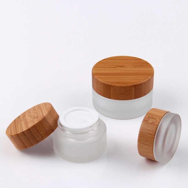 化粧品 30 ミリリットル 50 ミリリットルフラットショルダーつや消しクリームジャー竹ローションポンプ蓋ガラス香水木製竹キャップスプレーボトル