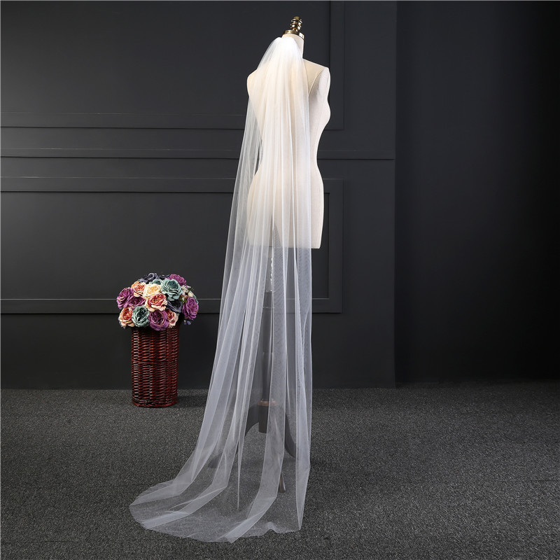 2018 Cut Edge Comb White Long Bridal Veils 2 M Cut Edge White One Layer Cheap Comb Long Wedding Veils