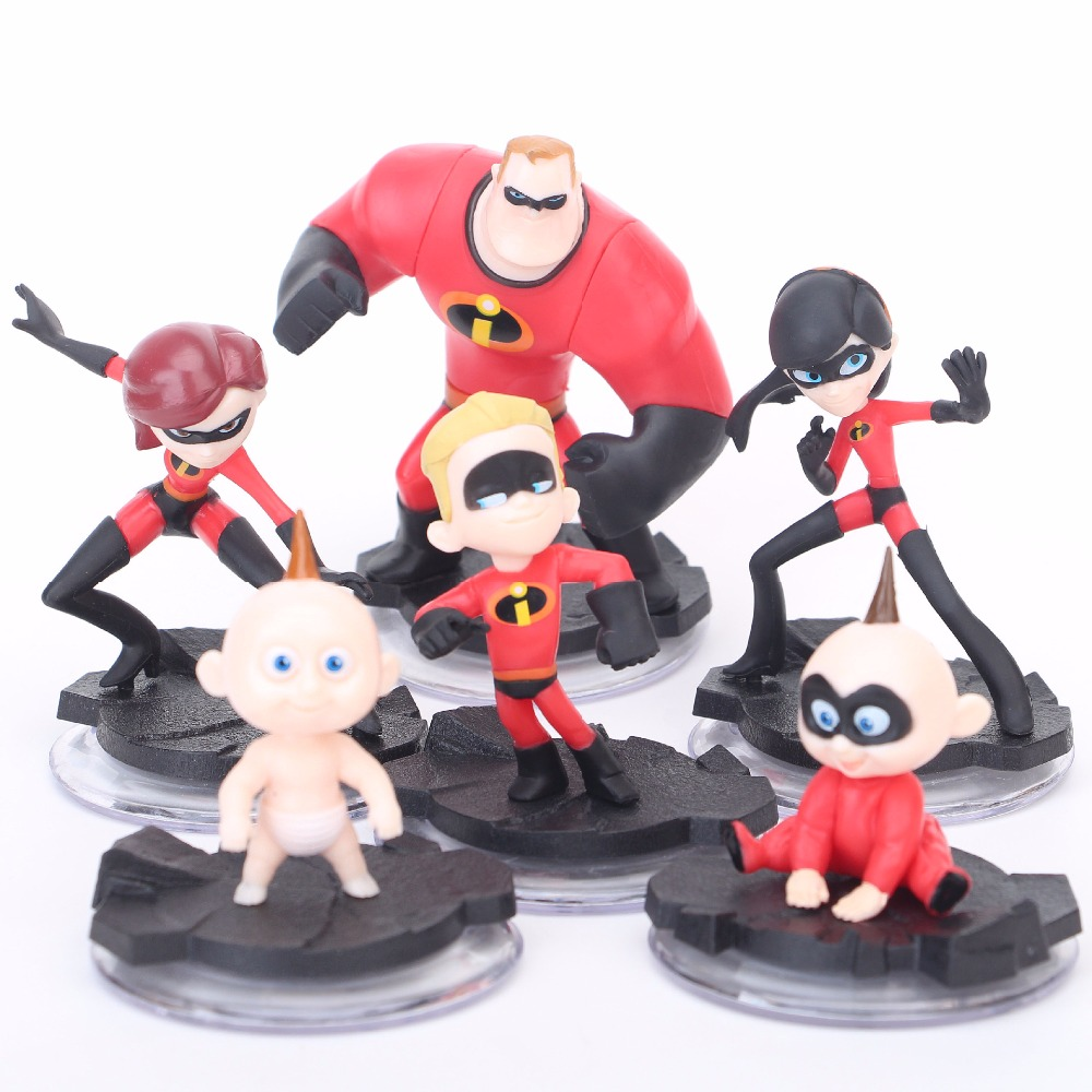 6pcs/set Disney Action Figure With Base The Incredibles 2 Movie Super Man Family Doll Children