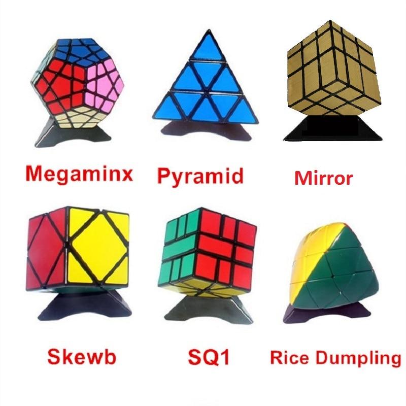 6pcs / Set Shengshou Negru Ciudat-forma Puzzle Cub Set Speed Twist Puzzle Bundle Pack Cub PVC & Matte Postituri Puzzle Cubo