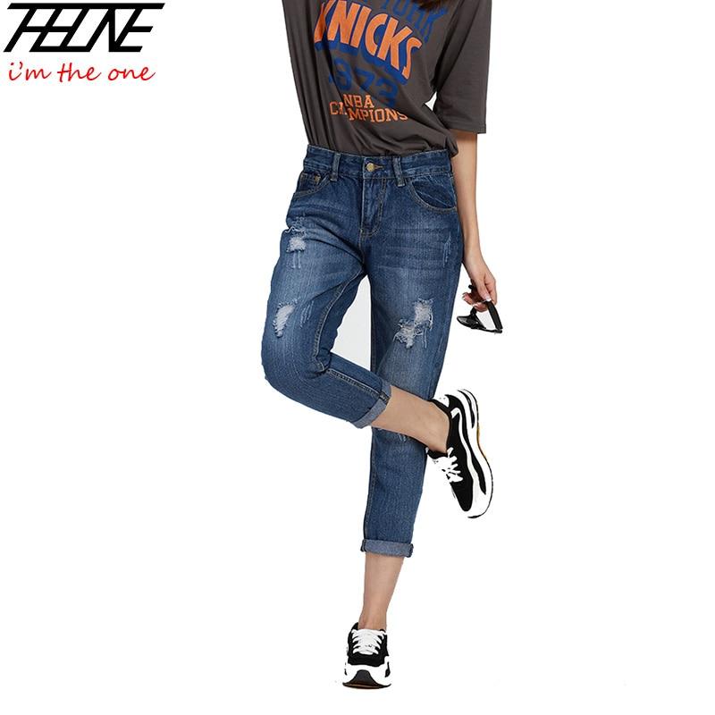 2016 Summer Ripped Jeans Women Capris Fashion Boyfriend Jeans Holes Denim Pants Loose Casual ...