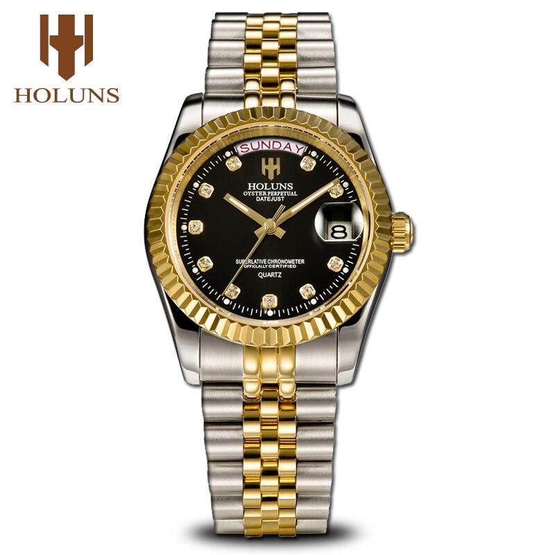 Męskie zegarki Top marka luksusowe złoty mężczyzna wsparcie Dropshipping moda zegarek na rękę diament zegarek kwarcowy ze stali nierdzewnej klasyczny kalendarz w Zegarki kwarcowe od Zegarki na  Grupa 1