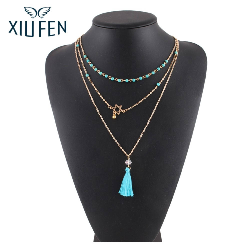XIUFEN New Style Bohemian Retro Ethnic Blue Beads Vintage Hexagram Tassel Multilayer Necklace Women Jewelry For Party