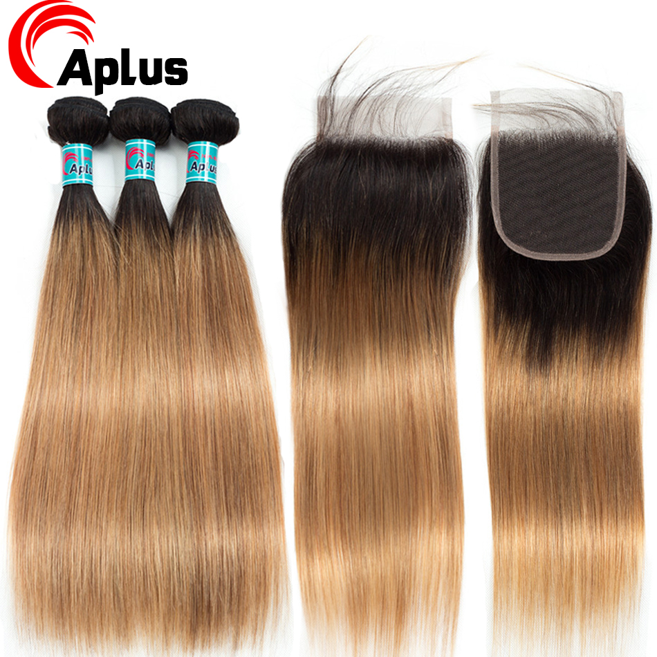 Aplus Hair T1b 27 Pre-Colored 100% Ombre Human Hair Honey Blonde Bundles With Closure Remy Malaysian Straight Ombre Hair Bundles