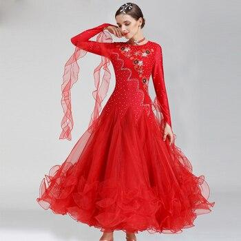 537baae76e5 Personalizado nuevo vestido de baile de salón de baile rojo moderno traje  de competición de baile mujeres vals Tango Foxtrot Quickstep vestidos rojos
