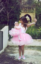 High Quality Romantic Pink Ball Gown Short Mother Daughter Dresses Matching Evening Dress For Wedding Party Prom 2 Pcs