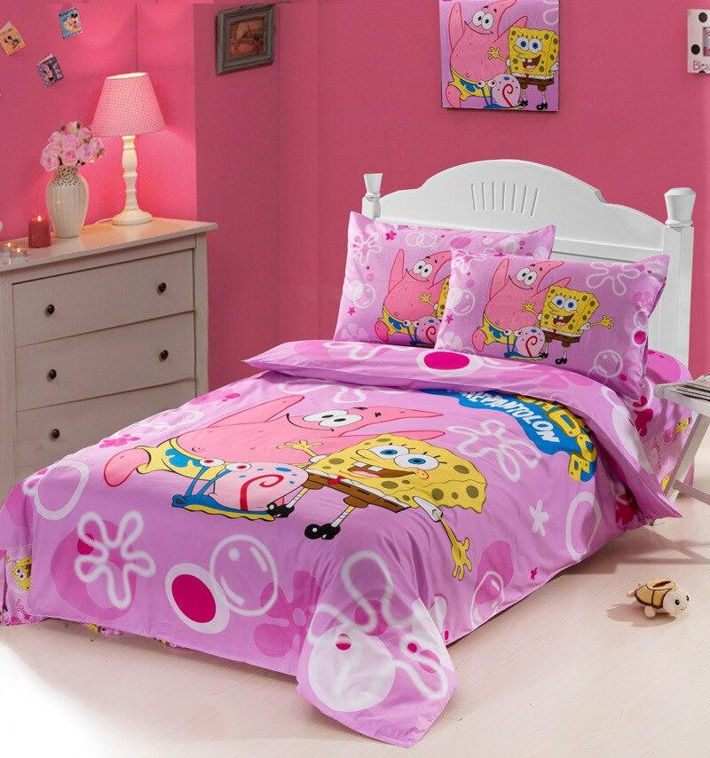 Ensemble de literie 100% coton | Dessin animé SpongeBob école Sea star, couette taie d'oreiller, drap de lit, chambre d'enfants, dortoir familial d'étudiant