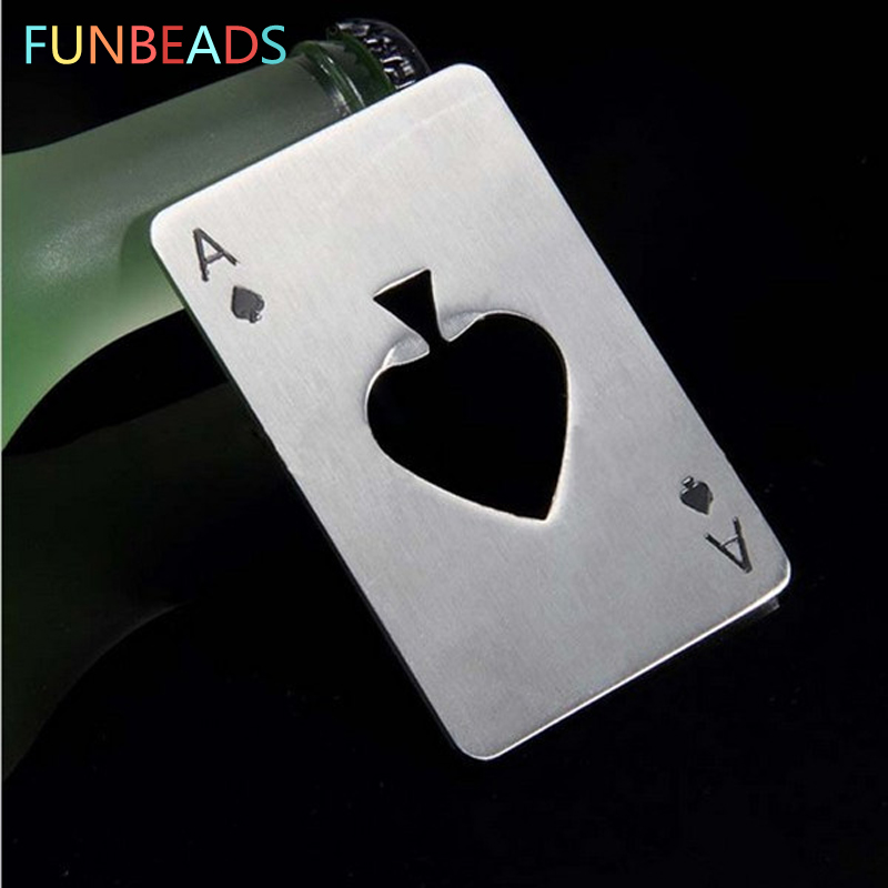 300pcs/lot Portable Stainless Steel Poker Shaped Beer Bottle Opener Credit Cards Size For Wallet Bar Tools Kitchen Gadgets KP010