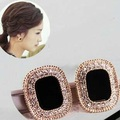 Luxurious black retro gem stone simulated pearl delicate ear clip without pierced,women clip earings no pierced