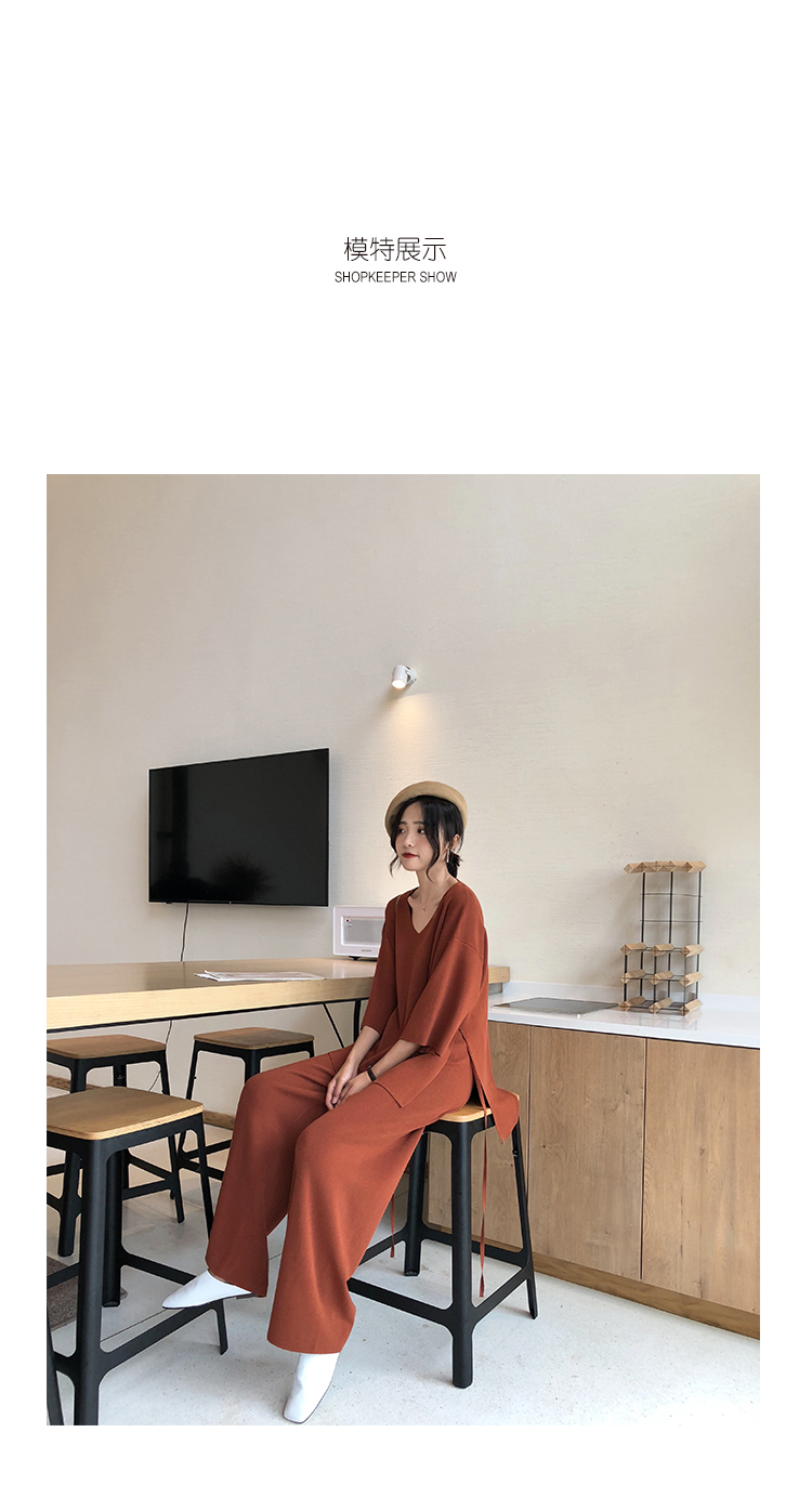 Knitting Female Sweater Pantsuit For Women Two Piece Set Knitted Pullover V-neck Long Sleeve Bandage Top Wide Leg Pants  Suit 5
