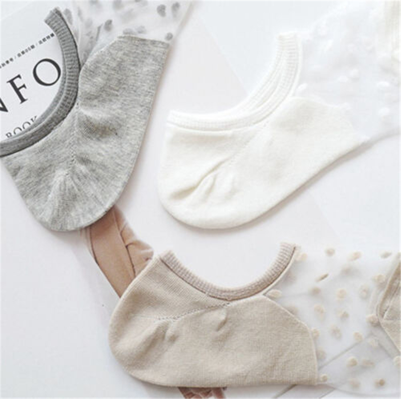 2019 Invisible Socks Women Lace Boat Socks Soft Thin Crystal Glass Silk No Show Socks Knit Low Transparent Short Summer Socks