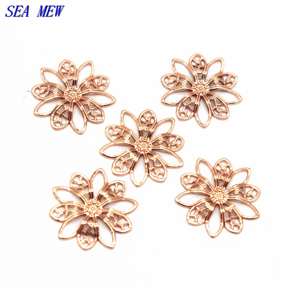 SEA MEW 19mm 6 Colors Plated Filigree Hollow Flowers Settings Copper Bead Caps Charms For Jewelry Making Components