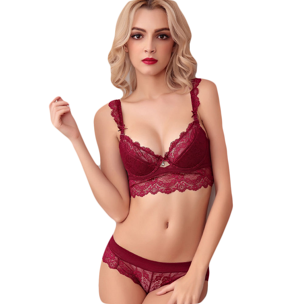 692263cb3171e New Floral Lace Bras Set Sexy Lingerie Women Underwear Brassieres White Black  Red Purple Large Size Cup Push Up Mesh Charms Lady