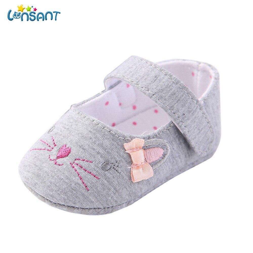 LONSANT Новинка 2018 года для маленьких девочек новорожденных мода Повседневное для маленьких девочек кроватки обувь новорожденных цветок мягк...