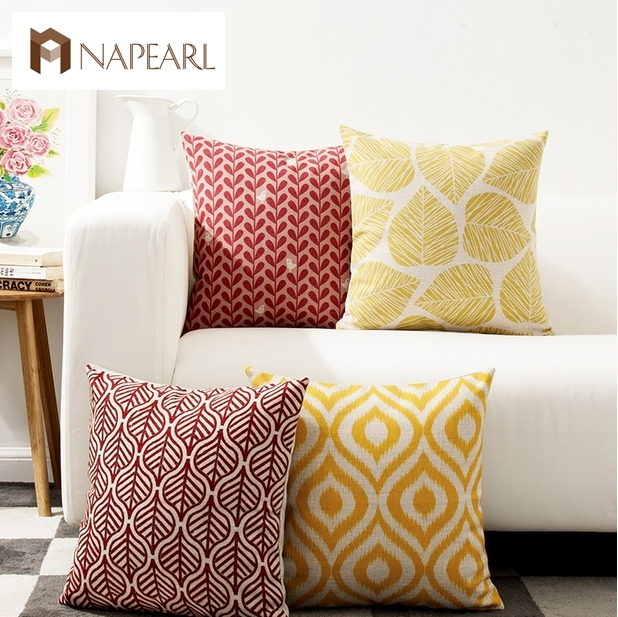 Yellow Vintage Brief Red Leaves Car Sofa Cushion Set Fresh Geometry Fluid Pillow Decoration